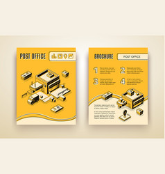 postal office isometric promotion brochure vector image