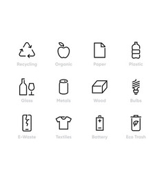 Recycling icons sorting garbage vector
