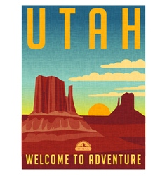Retro travel poster for utah vector