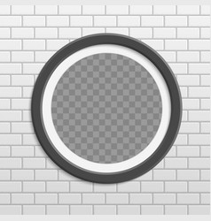 round photo frame on brick wall vector image