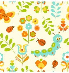 Seamless Pattern with Cute Caterpillar vector image vector image