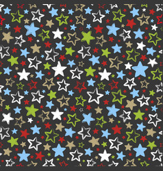 Seamless pattern with multicolored stars on dark vector
