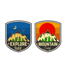set mountain camping emblems design element vector image