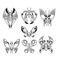 Set of hand drawn cartoon butterfly like vector