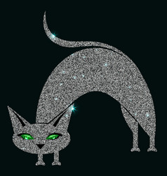 silver cat with green eyes vector image