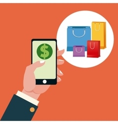 Smartphone and shopping design vector