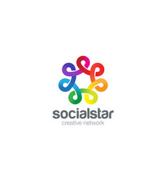 Social network logo colorful design template vector