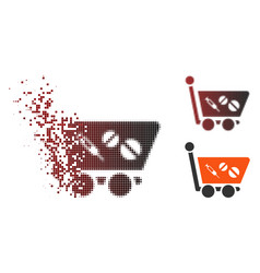 Sparkle pixel halftone medication shopping cart vector