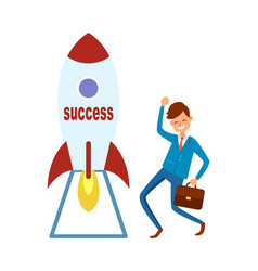 startup to success businessman briefcase rocket vector image