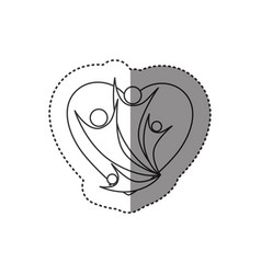 Sticker of monochrome abstract contour of heart vector