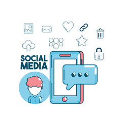 technology social media global connection vector image