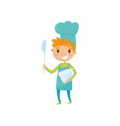 teen boy in apron and chef hat holding ladle and vector image