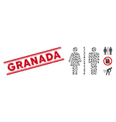 Textured granada line stamp and collage toilet vector