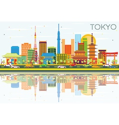 Tokyo Skyline with Color Buildings vector