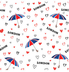 Travel london seamless pattern with love hearts vector
