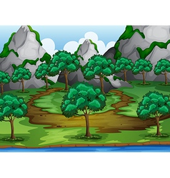 Trees and moutains vector