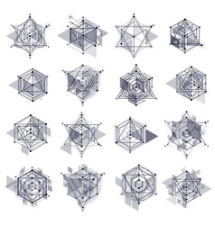 Trendy geometric patterns set textured abstract vector