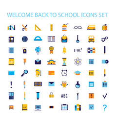 welcome back to school icon set vector image