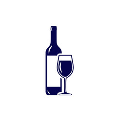 wineglass and wine bottle icon isolated on white vector image