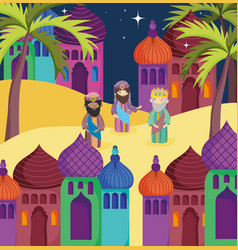 wise men town palm trees manger nativity vector image