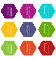 wooden door icons set 9 vector image