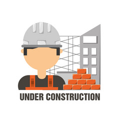 Worker man under construction concept vector