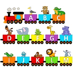 alphabet train animals from A to M vector image vector image