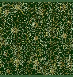 decorative golden floral mandala seamless pattern vector image
