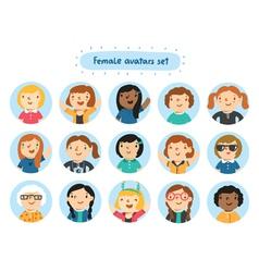 Female avatars vector image vector image