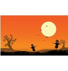 Silhouette of scarecrow halloween backgrounds vector