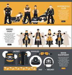 bikers banners set vector image vector image