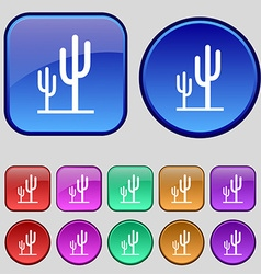 Cactus icon sign a set of twelve vintage buttons vector