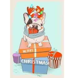 little cute cristmas bulldog vector image vector image