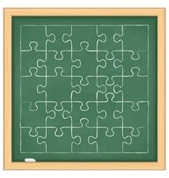Puzzle on blackboard vector image vector image