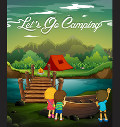 scene with kids camping by river vector image vector image