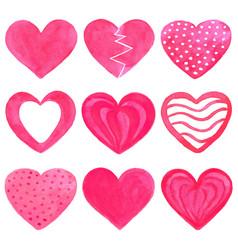 set of pink watercolor hearts vector image vector image