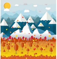 Autumn nature landscape mountains and trees vector image vector image
