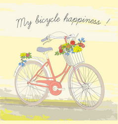 colorful vintage spring bicycle poster vector image vector image
