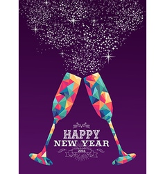Happy new year 2016 glass triangle hipster color vector image vector image