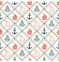 Seamless pattern of anchor sailboat shape in frame vector image vector image