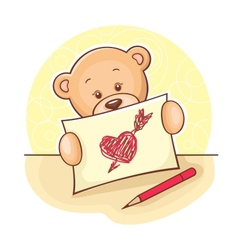 Teddy Bear with drawing heart vector image vector image