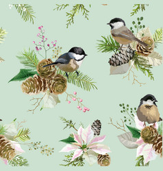 winter christmas birds seamless background vector image vector image
