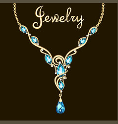 pendant necklace with precious stones and vector image vector image