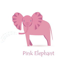 Pink elephant calf vector