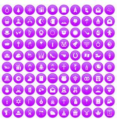 100 religious festival icons set purple vector