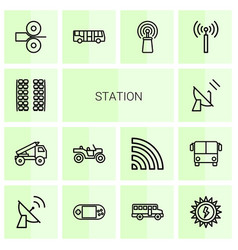 14 station icons vector image