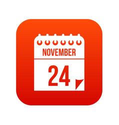 24 november calendar icon digital red vector image