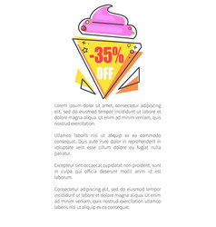 -35 off label in form of ice-cream promo sticker vector image