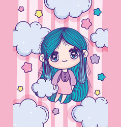 Anime cute girl blue hair stars clouds stripes vector