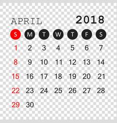 april 2018 calendar calendar planner design vector image